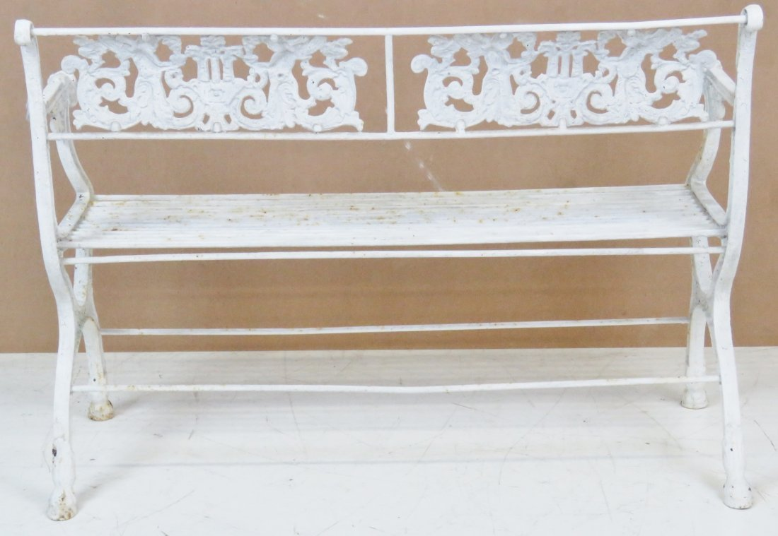 ANTQIUE VICTORIAN WHITE PAINTED IRON BENCH - 6
