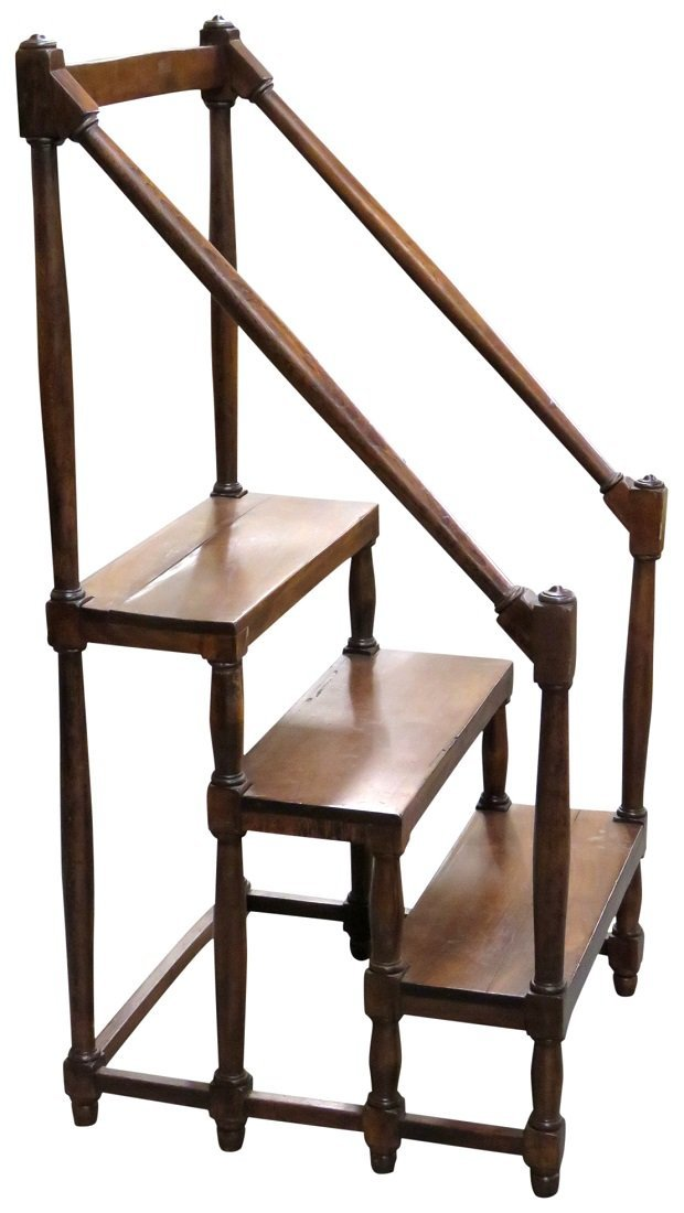 WALNUT CARVED LIBRARY STEPS