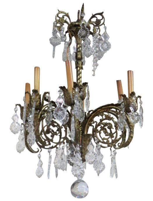 FRENCH STYLE BRASS & GLASS PRISM CHANDELIER