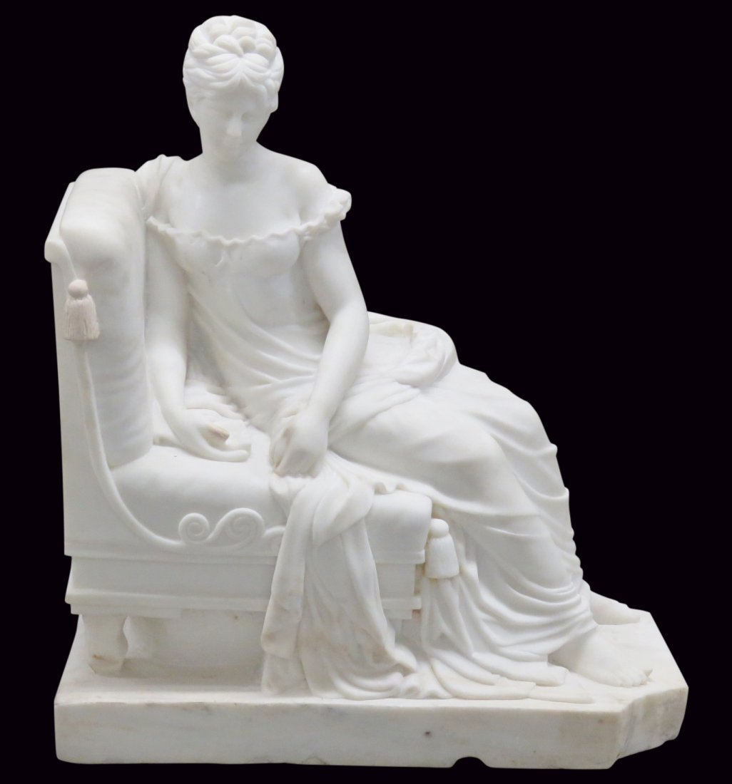 CARRERA MARBLE STATUE of LOUNGING ROMAN GODDESS