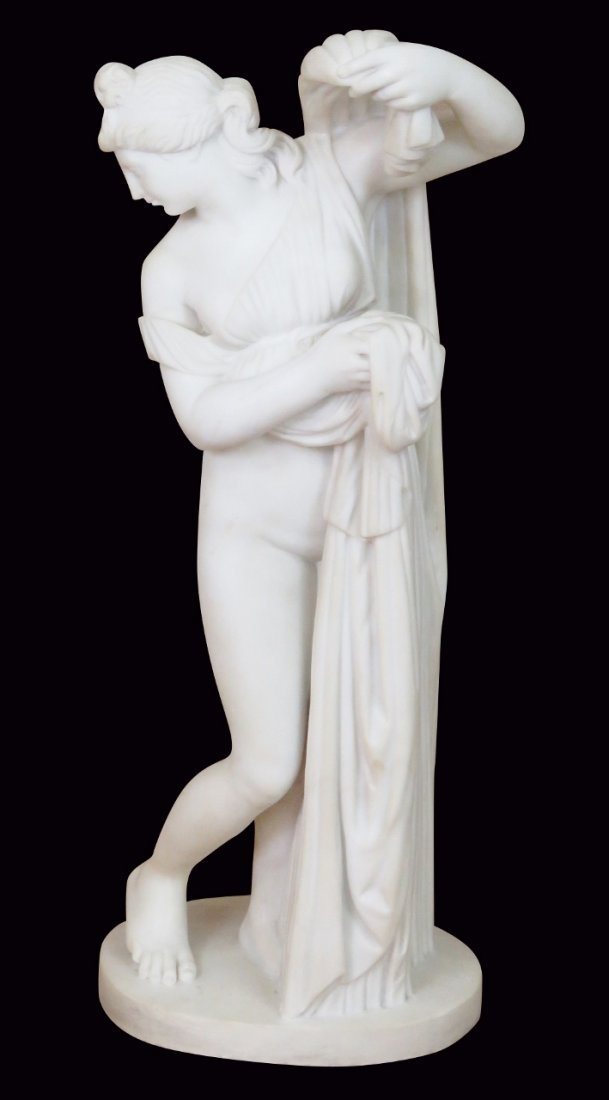 C. GENOVESE MARBLE STATUE of FEMALE BATHER