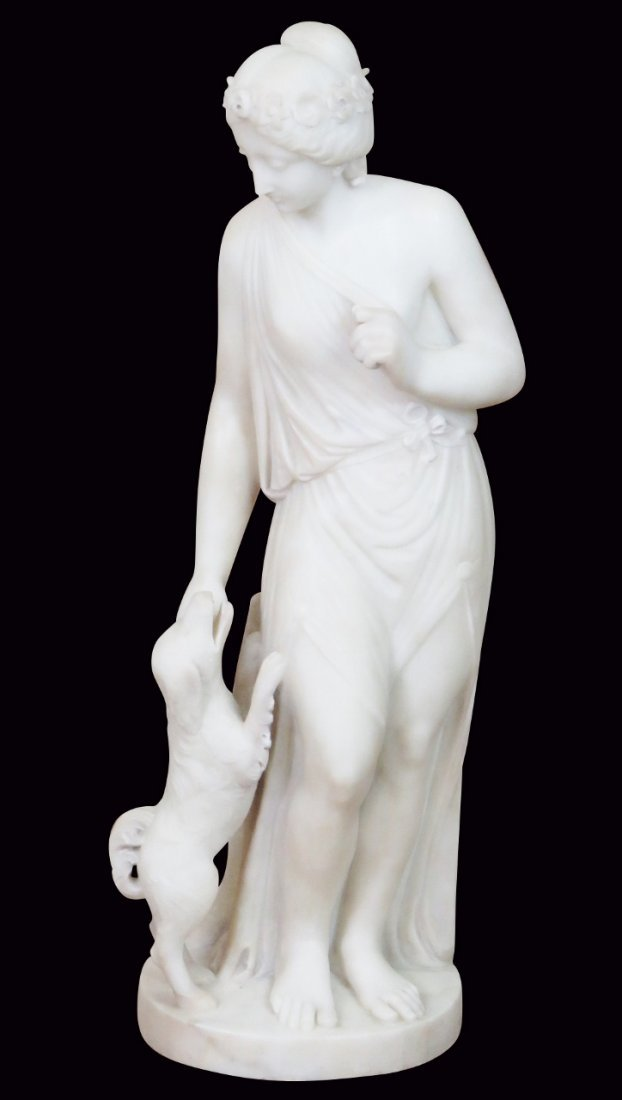 MARBLE STATUE of ROMAN LADY WITH DOG