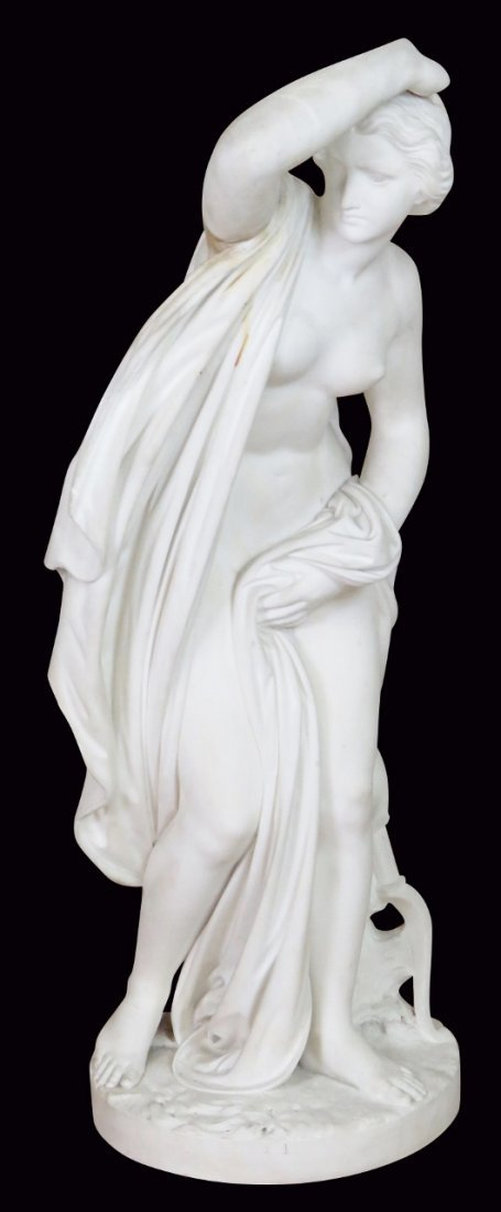 MARBLE STATUE of WOMAN w/ HAND on HEAD