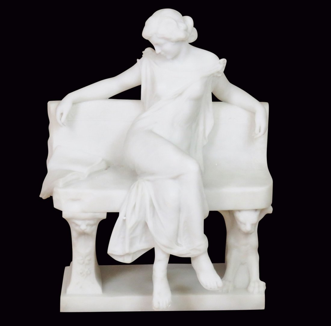 A. FRILLI FIRENZE MARBLE STATUE of ROMAN LADY on BENCH