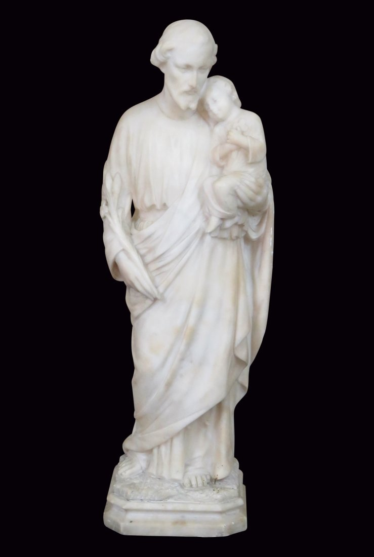 "ANTIQUE 23"" ITALIAN CARVED MARBLE ST. JOSEPH w/ CHILD"