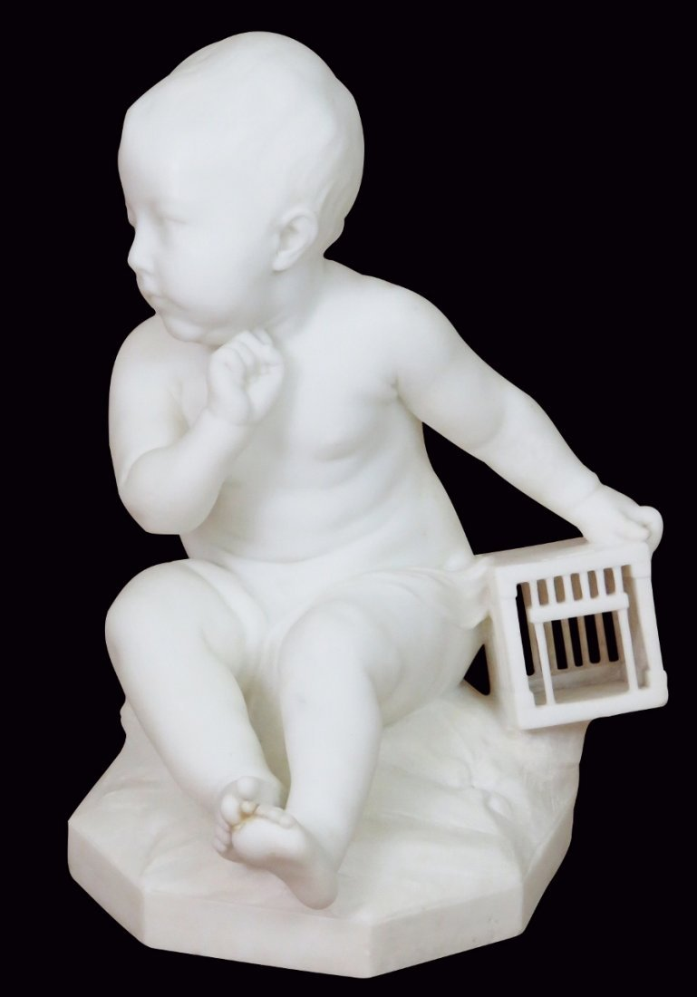 MARBLE STATUE of PLAYING BABY