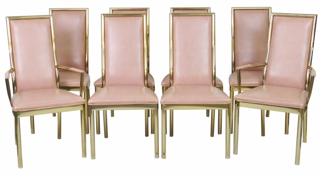 8 DECO STYLE METAL FRAMED DINING CHAIRS