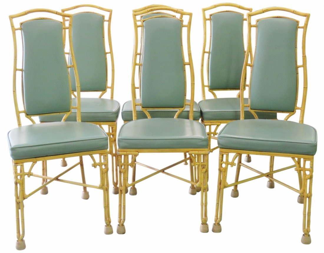 6 FAUX BAMBOO METAL DINING CHAIRS
