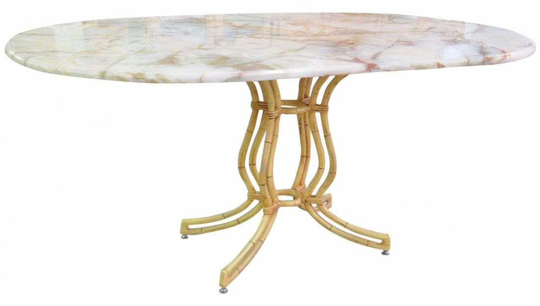 FAUX BAMBOO ONYX TOP DINING TABLE
