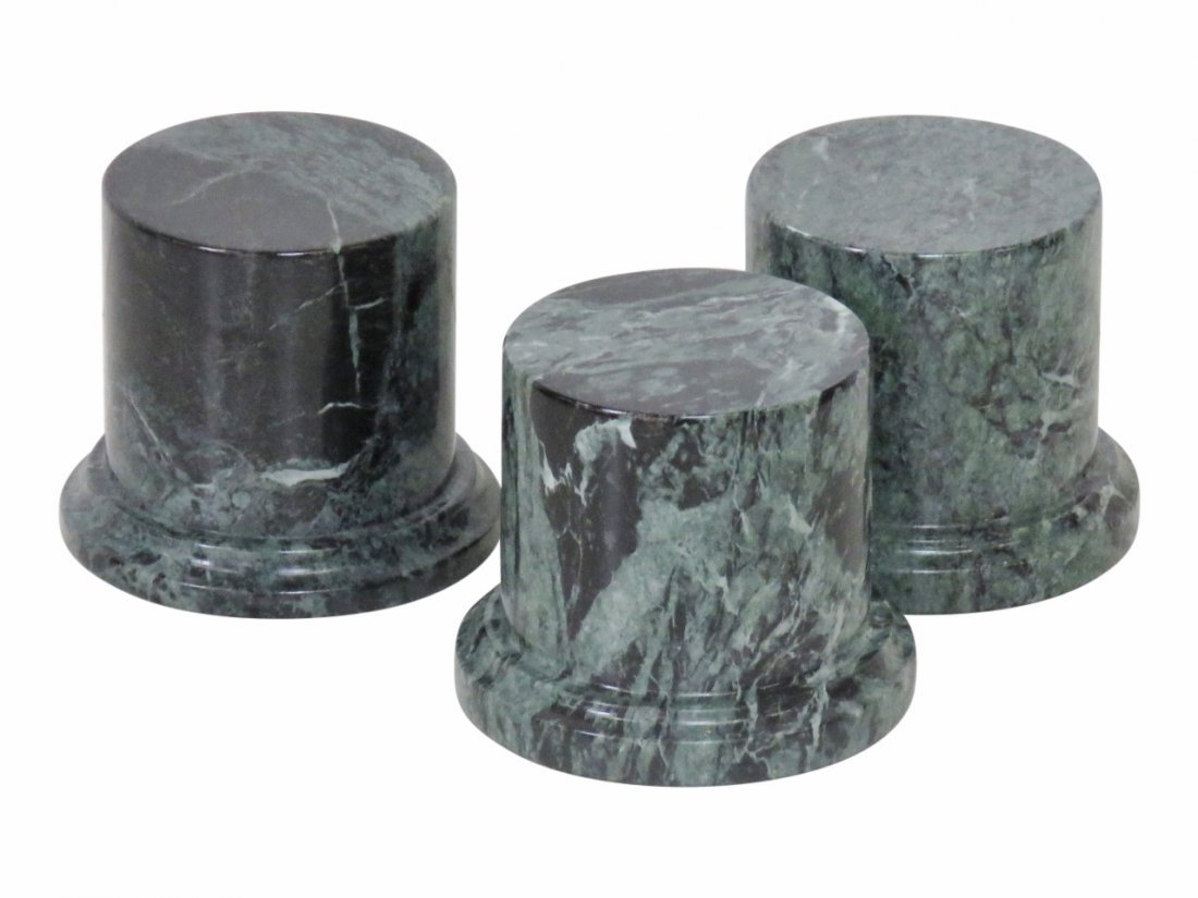 "THREE 4"" MINIATURE MARBLE PEDESTALS"