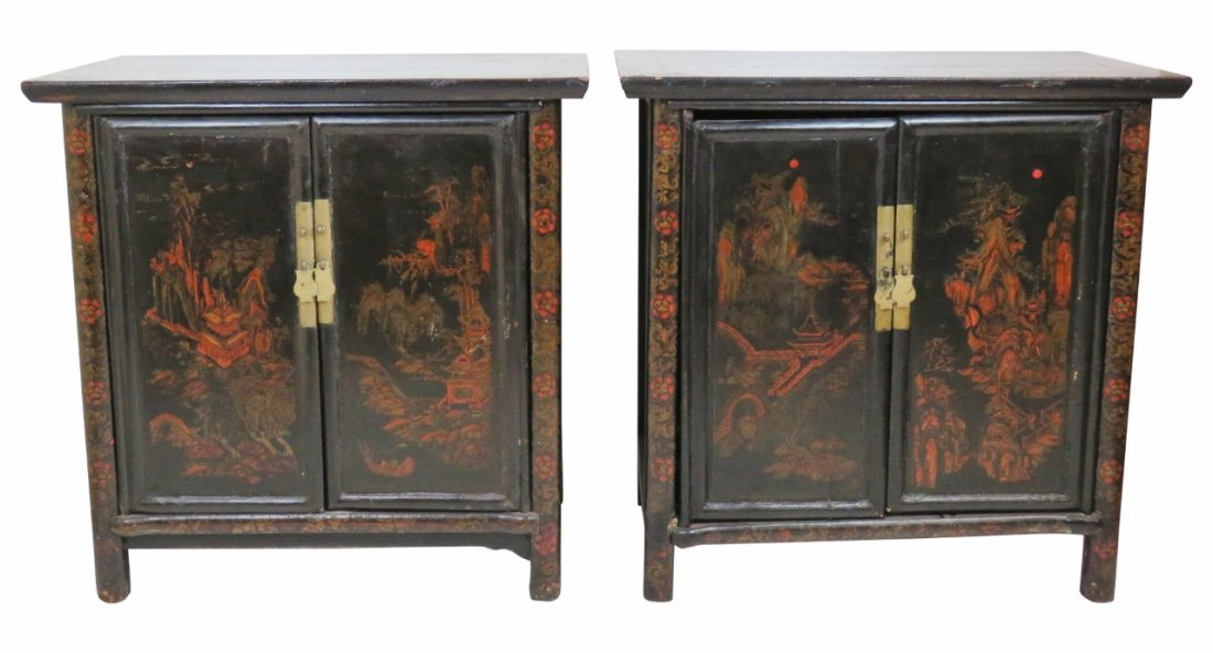 Pair CHINOISERIE PAINT DECORATED SERVERS