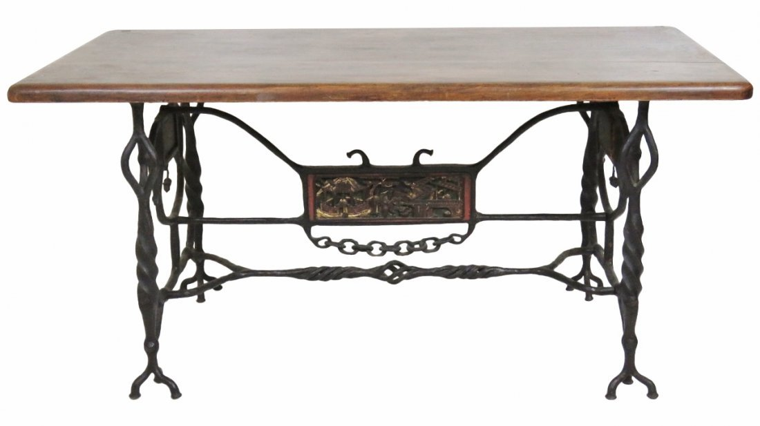 ASIAN STYLE BLACK IRON LIBRARY TABLE