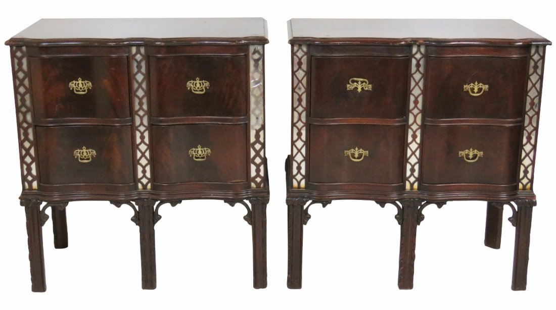 Pair CHINESE CHIPPENDALE STYLE MAHOGANY CHESTS