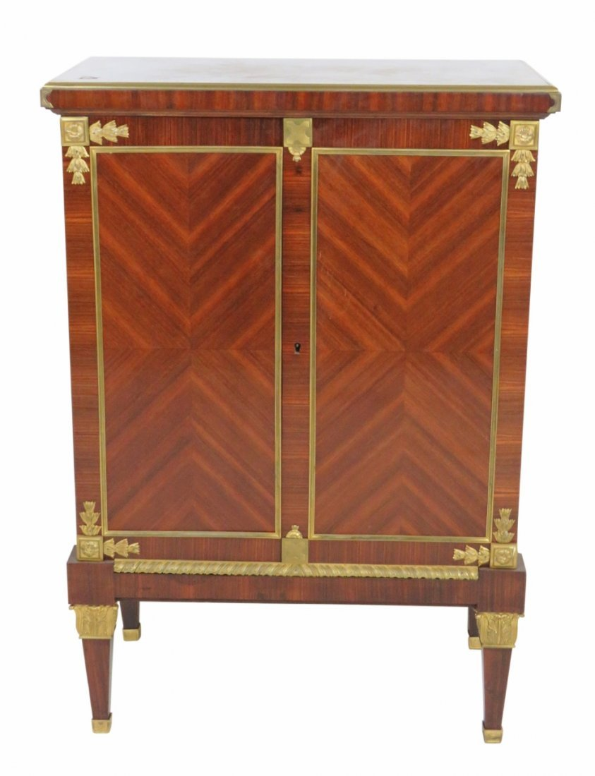 PARQUETRY INLAID BRASS MOUNTED CABINET
