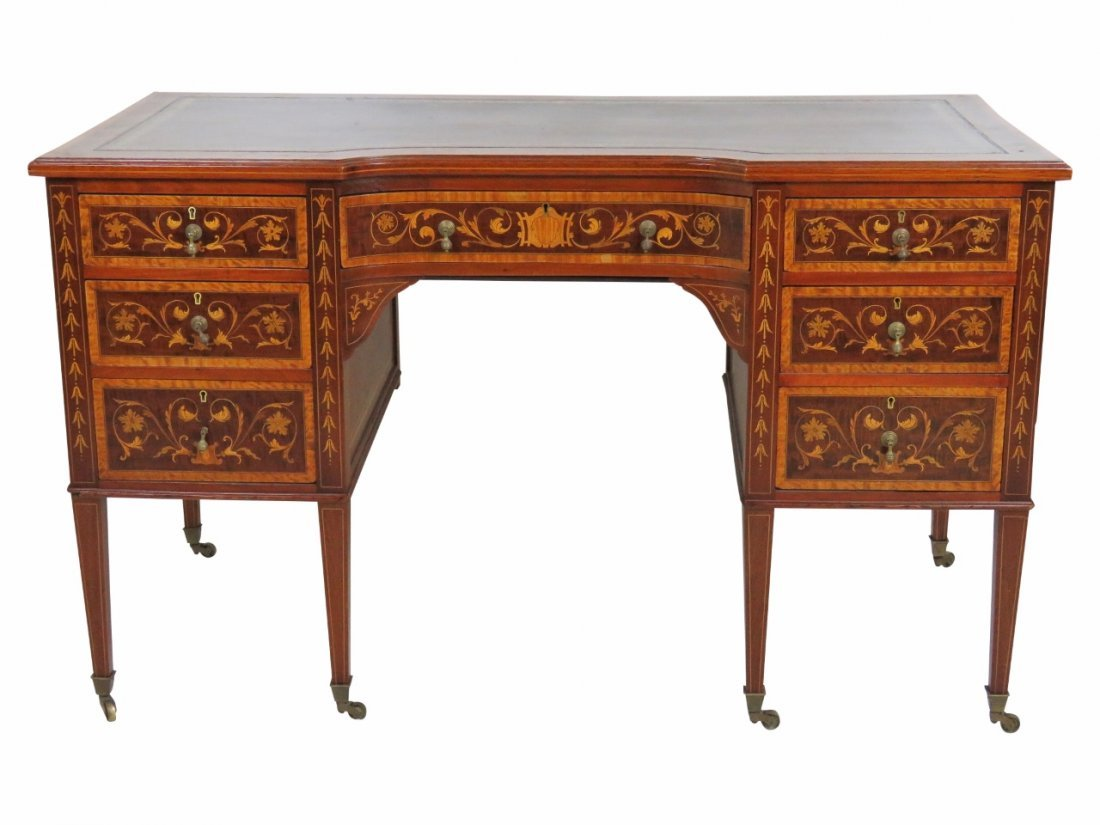 EDWARD & ROBERTS  EDWARDIAN INLAID LEATHERTOP DESK