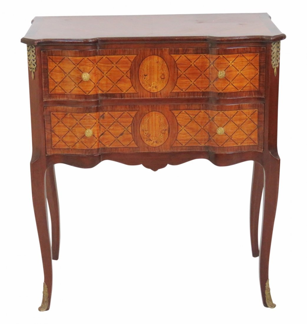 FRENCH INLAID BANDED COMMODE