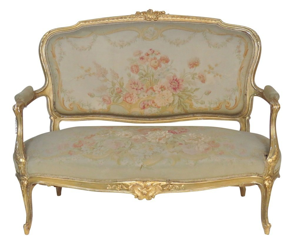 LOUIS XVI STYLE GILT CARVED AUBUSSON SETTEE