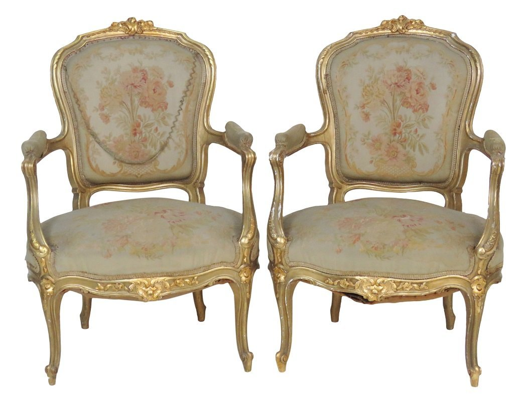Pair LOUIS XVI STYLE GILT CARVED AUBUSSON FAUTEUILS