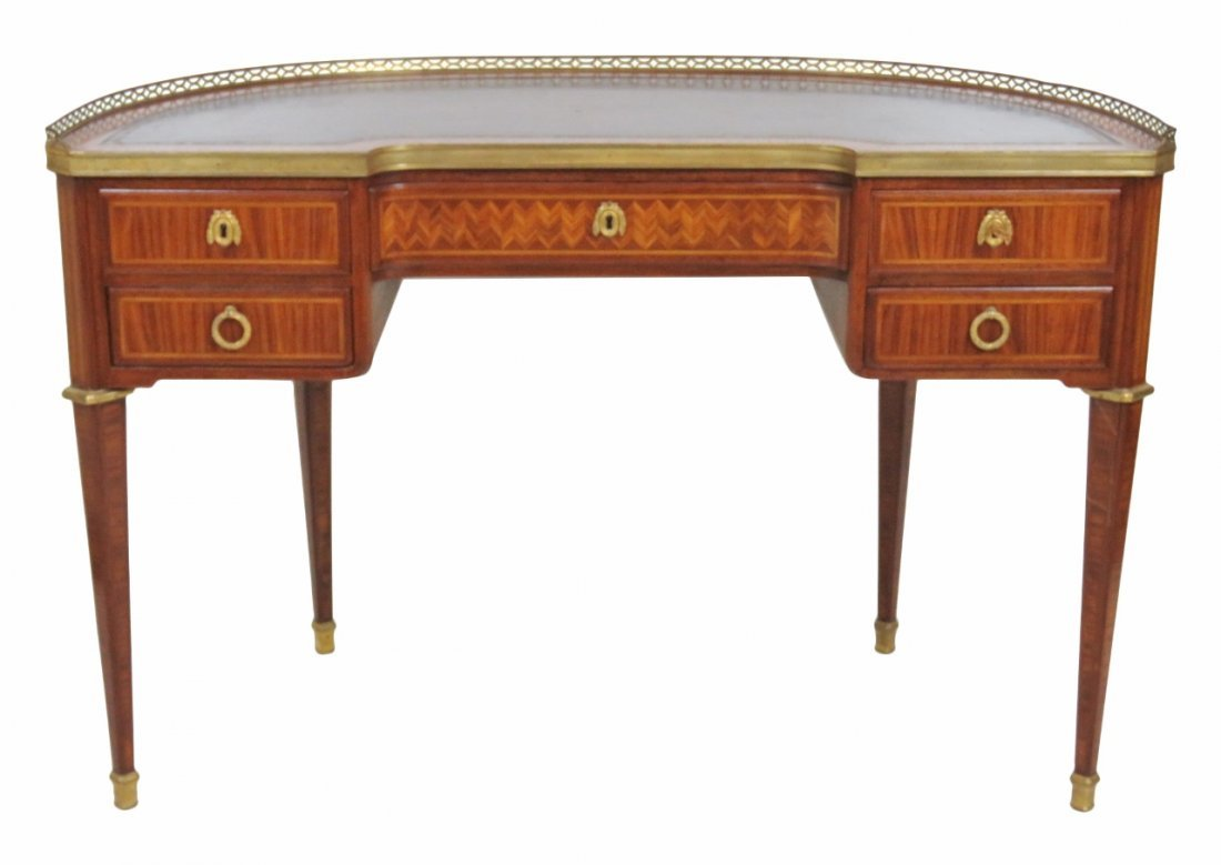 FRENCH LEATHERTOP PARQUETRY INLAID LADY'S DESK