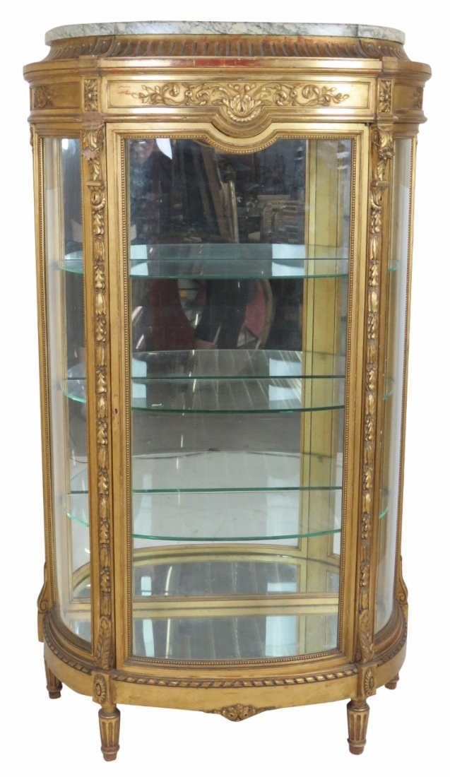 LOUIS XVI STYLE GILT CARVED MARBLETOP DISPLAY CABINET