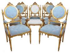 8 LOUIS XVI STYLE GILT CARVED TUFTED DINING CHAIRS