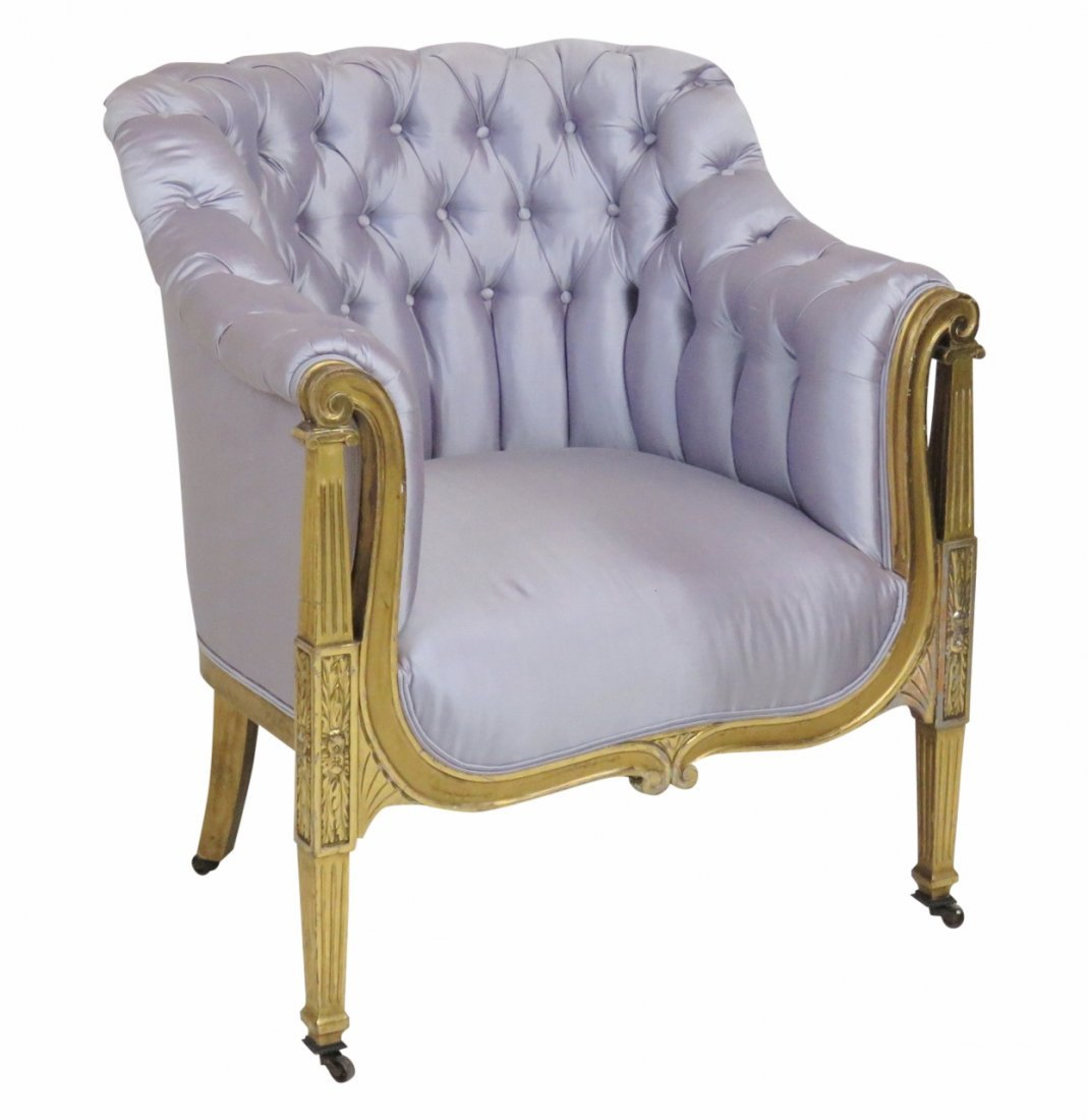 LOUIS XVI STYLE GILT PAINTED TUFTED LOUNGE CHAIR