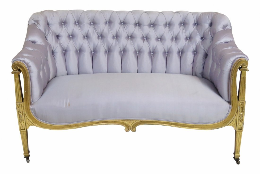 LOUIS XVI STYLE GILT PAINTED TUFTED SETTEE