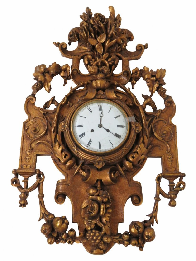 SWEDISH GILT CARVED HANGING WALL CLOCK
