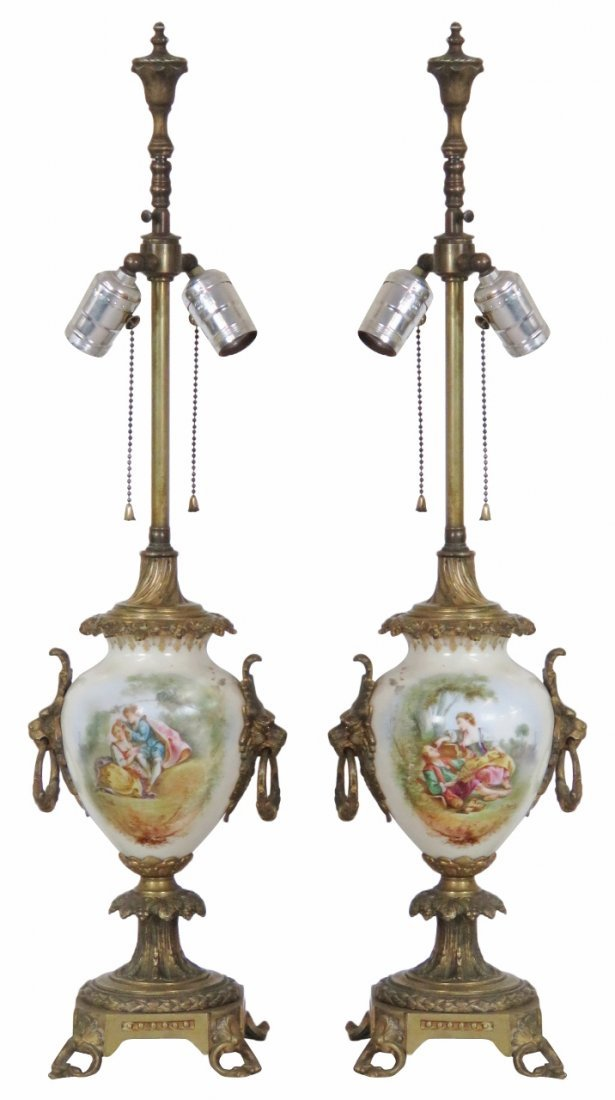 2 FRENCH STYLE PORCELAIN BRONZE MOUNTED TABLE LAMPS