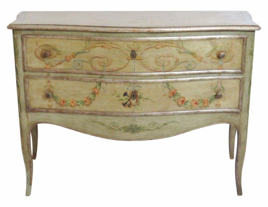 FRENCH STYLE PAINT DECORATED COMMODE