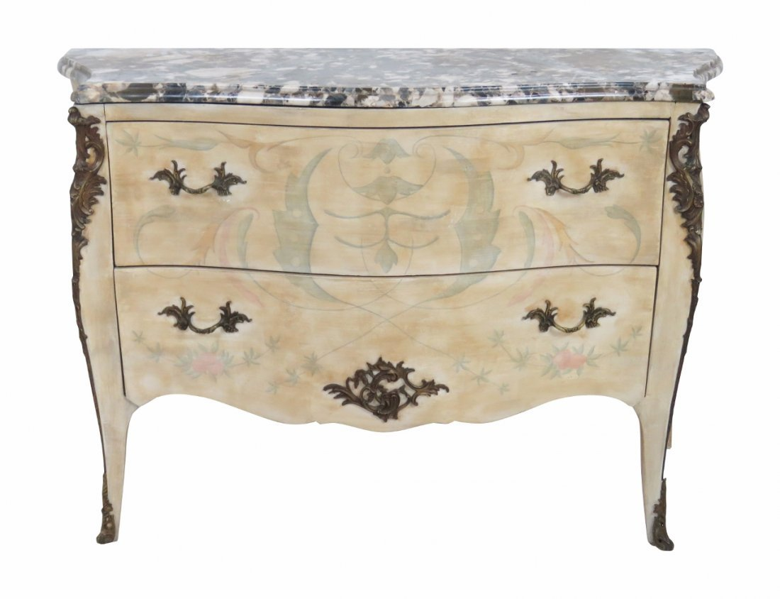 FRENCH PAINT DECORATED MARBLETOP BOMBAY COMMODE