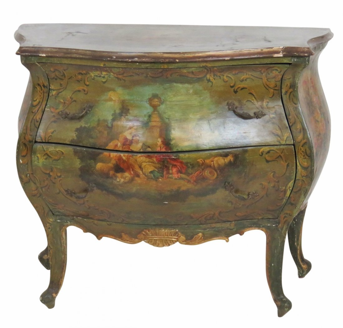 VENETIAN STYLE PAINT DECORATED BOMBE COMMODE