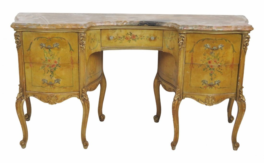 FRENCH PAINT DEOCRATED MARBLETOP VANITY