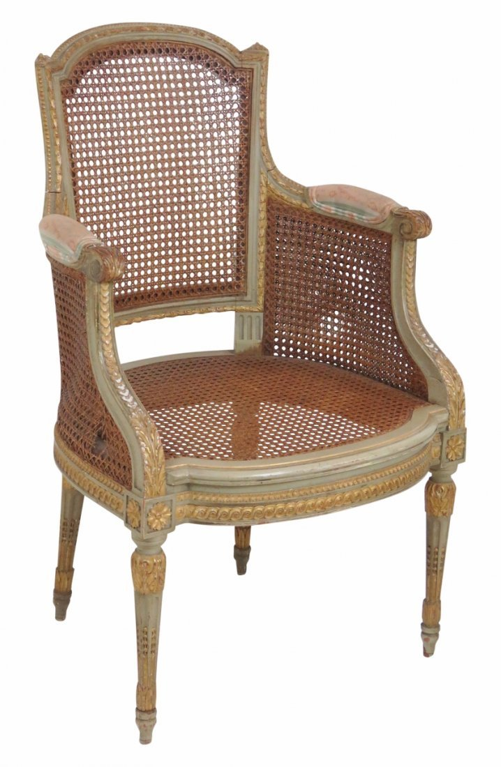 LOUIS XVI STYLE PAINTED & CANED ARMCHAIR