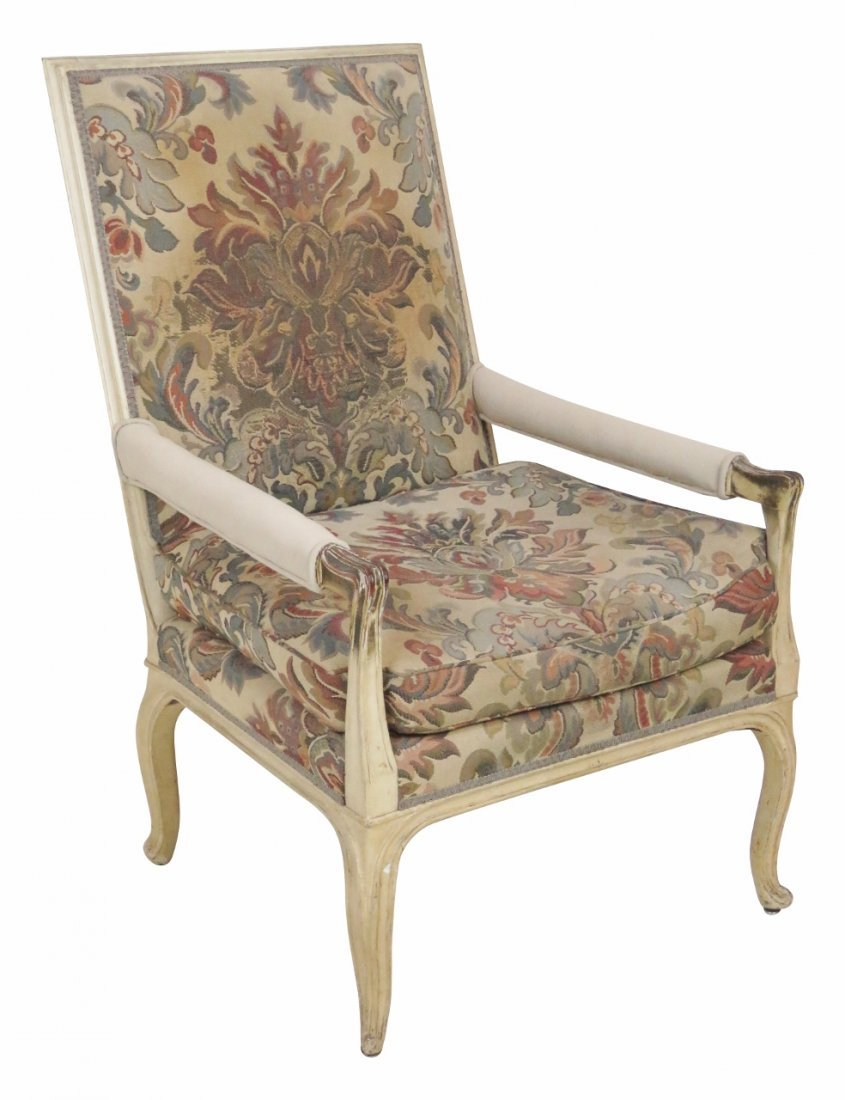 JANSEN STYLE DISTRESSED CREAM PAINTED ARMCHAIR