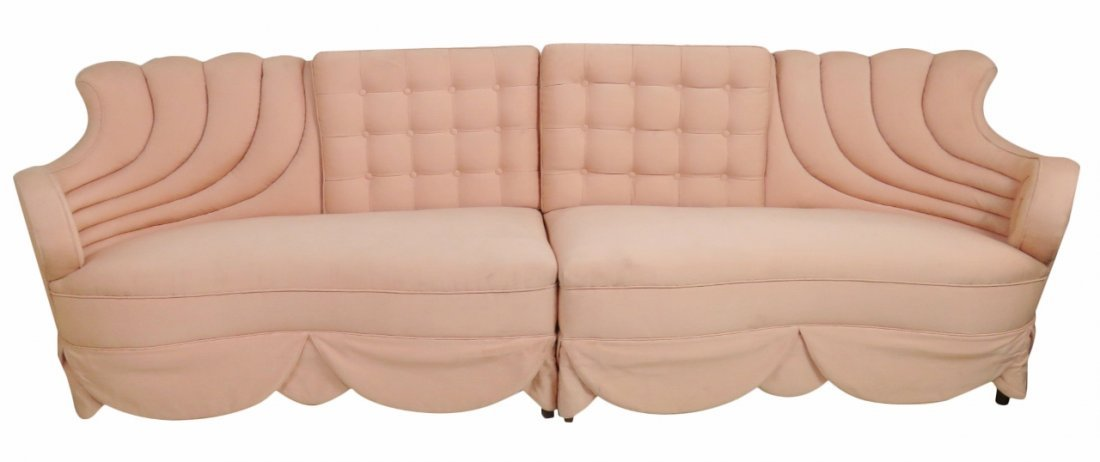 FRENCH STYLE TUFTED 2PC SOFA attr. SINATRA'S APARTMENT