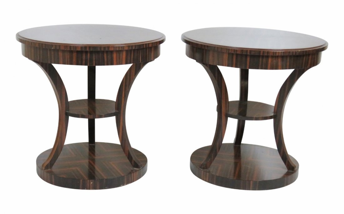 Pair ROUND DECO EXOTIC WOOD SIDE TABLES