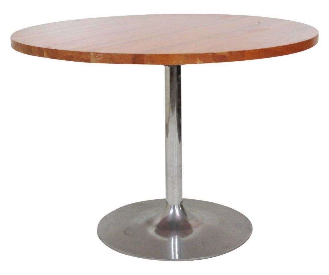 MODERN DESIGN TEAK & CHROME ROUND DINING TABLE