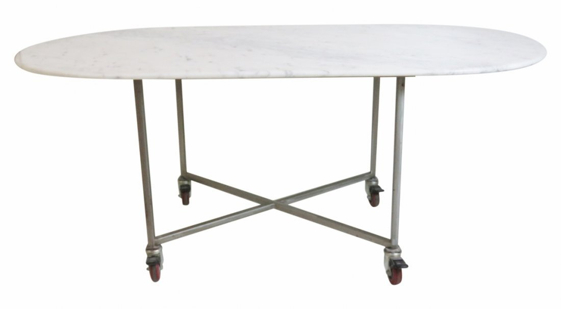 INDUSTRIAL STYLE MARBLETOP & CHROME ROLLING TABLE