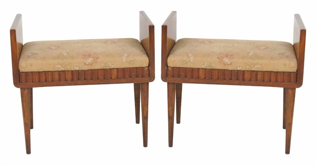 Pair DECO BURL WALNUT UPHOLSTERED STOOLS