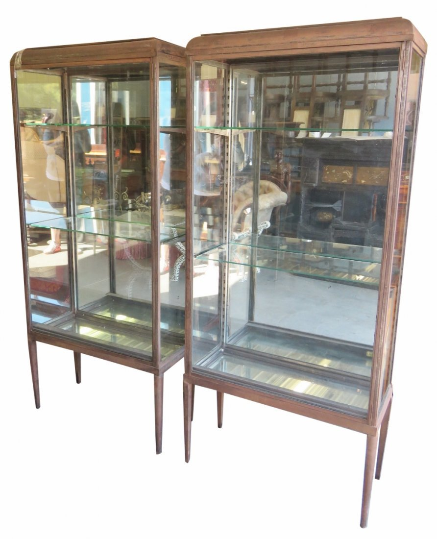 Pair INDUSTRIAL IRON & GLASS DISPLAY CABINETS