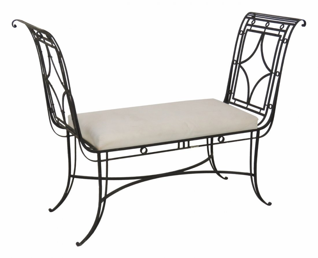 DIRECTOIRE STYLE METAL UPHOLSTERED BENCH
