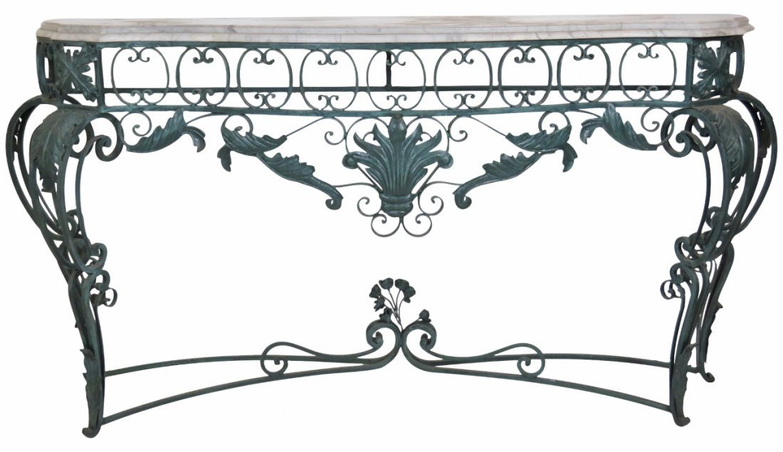 LARGE ITALIAN STYLE MARBLETOP IRON CONSOLE
