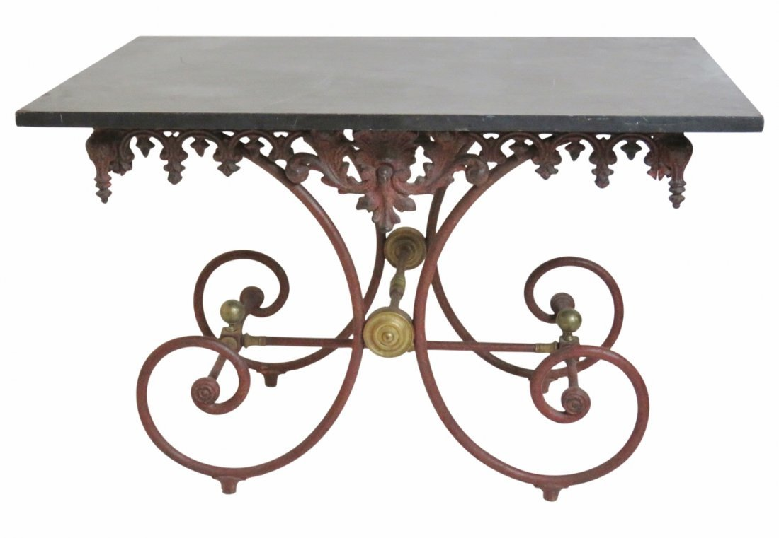 FRENCH STYLE PAINTED METAL SLATE TOP BAKER'S TABLE