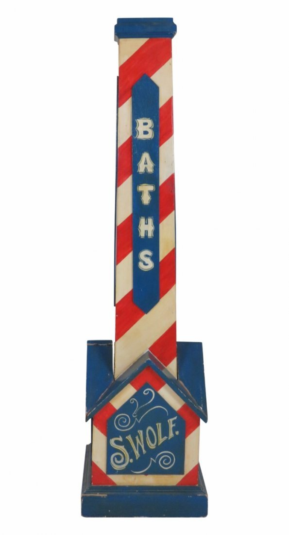 S. WOLF BATHS CARVED LIGHTHOUSE SIGN