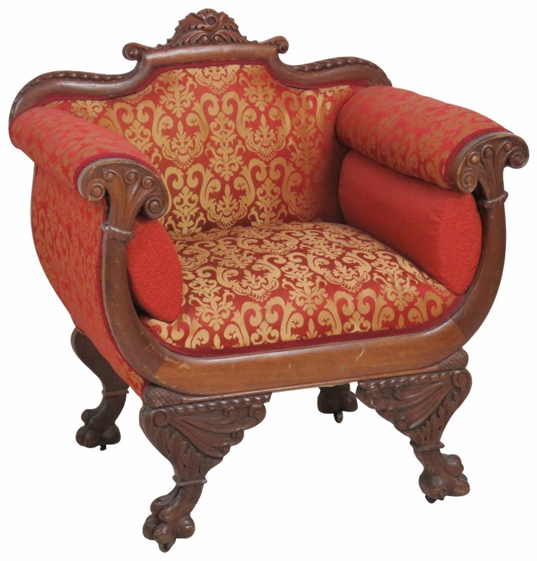EMPIRE STYLE CARVED MAHOGANY UPHOLSTERED SETTEE