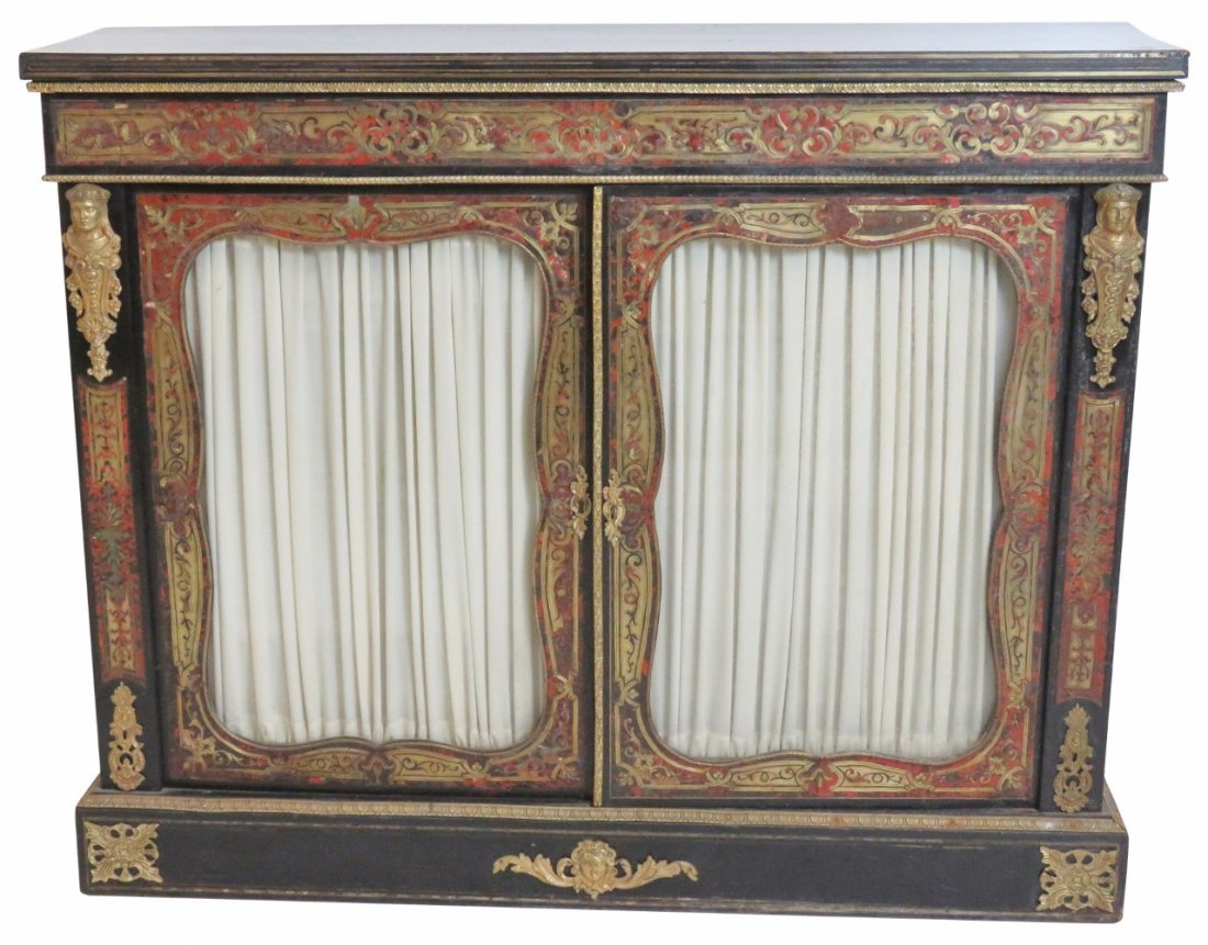 FRENCH STYLE BRONZE MOUNTED BOULLE INLAID CREDENZA