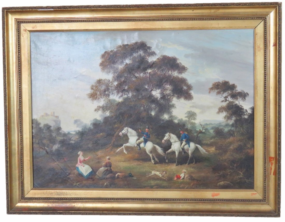 OIL PAINTING SOLDIERS on HORSES
