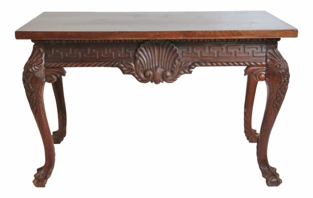 GEORGIAN STYLE WALNUT CARVED CONSOLE TABLE