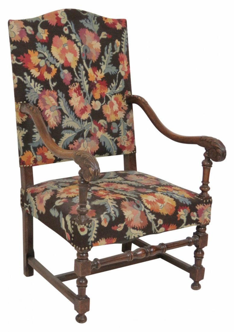 CARVED WALNUT NEEDLEPOINT THROWN CHAIR